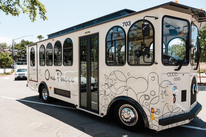 The One Paseo trolley now takes trips to the beach.