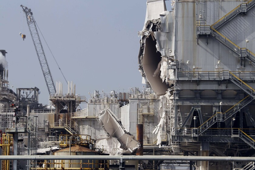 The Exxon Mobil refinery in Torrance after an explosion Feb. 18.
