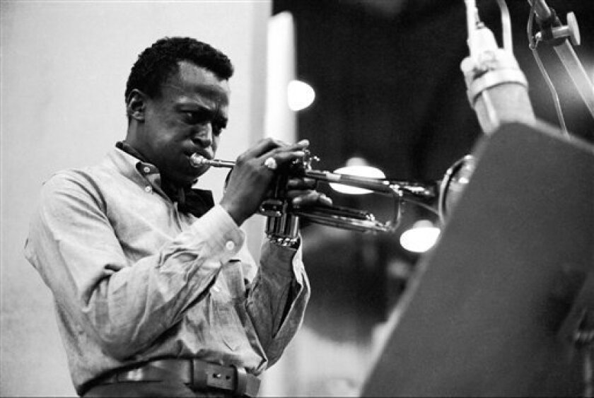 "In this photo released by Sony/Legacy Records, Miles Davis is shown during a recording session in 1959 for his epic ""Kind of Blue"" album."