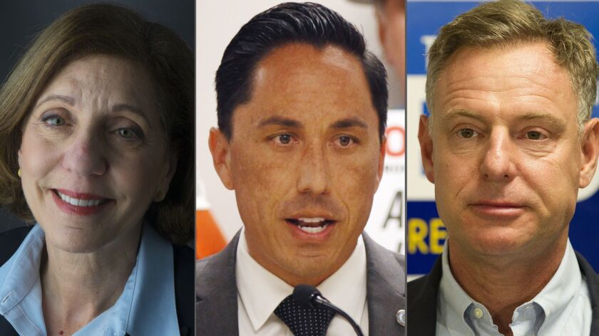From left: Councilwoman Barbara Bry, Assemblyman Todd Gloria and Congressman Scott Peters are expect