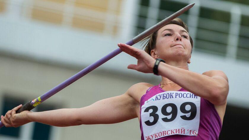 Russian javelin thrower Vera Rebrik competes in Zhukovsky on July 20.