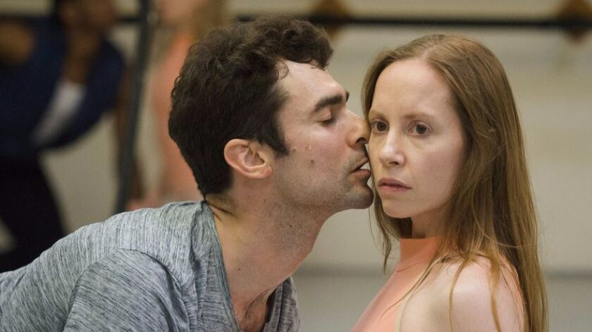 """Ariana and Geoff Gonzalez rehearse """"Afternoon of a Faun,"""" by Jerome Robbins, which will be a part of City Ballet's production """"Balanchine and Beyond."""""""