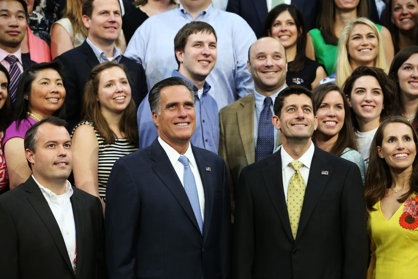 Mitt Romney, Paul Ryan and their campaign staff