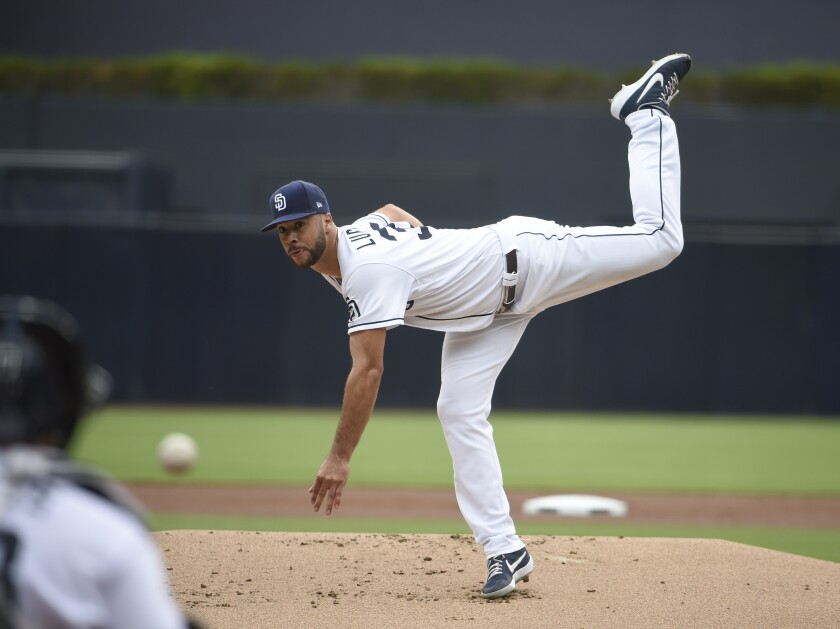 Padres left-hander Joey Lucchesi pitches during the first inning of Thursday's game at Petco Park.