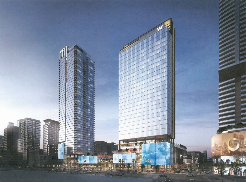 A rendering of a planned project shows two towers in downtown L.A.