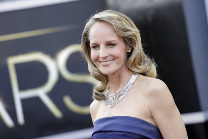 Helen Hunt arrives on the red carpet at the 2013 Oscars on Sunday in Hollywood.