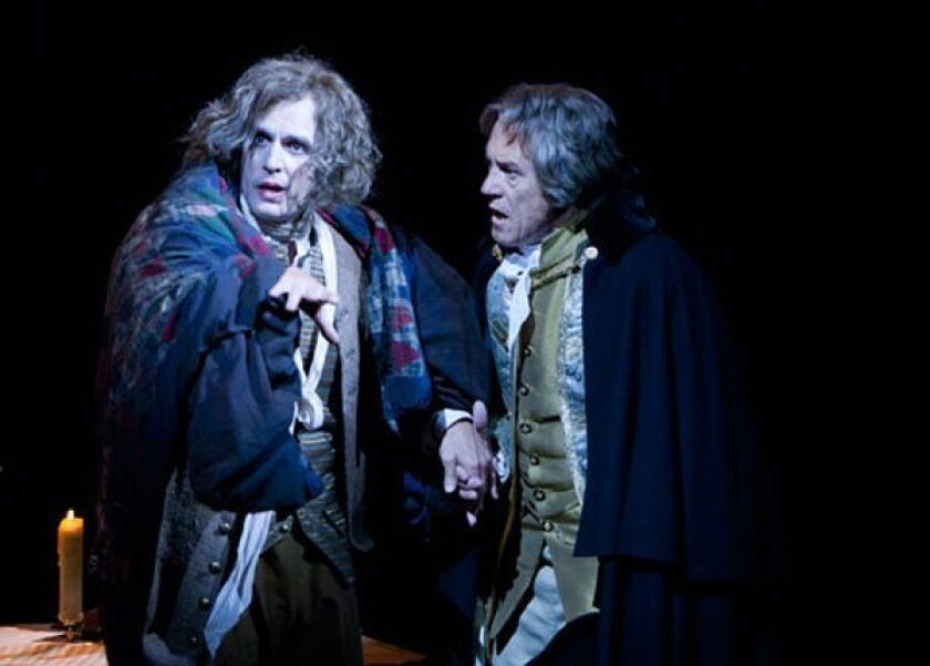 "Jay Whittaker as Mozart (left) and Miles Anderson as Salieri in the Old Globe Summer Shakespeare Festival staging of ""Amadeus."""