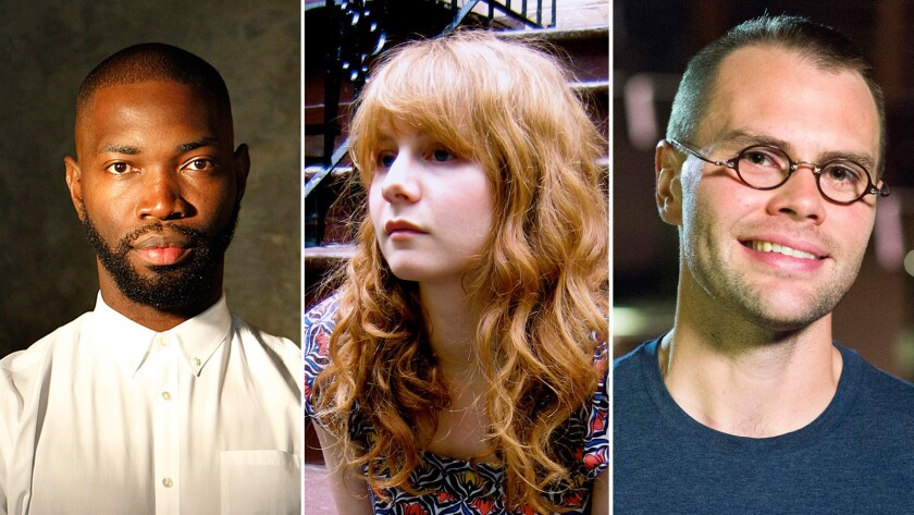 From left, playwrights Tarell Alvin McCraney, Annie Baker and Samuel D. Hunter.