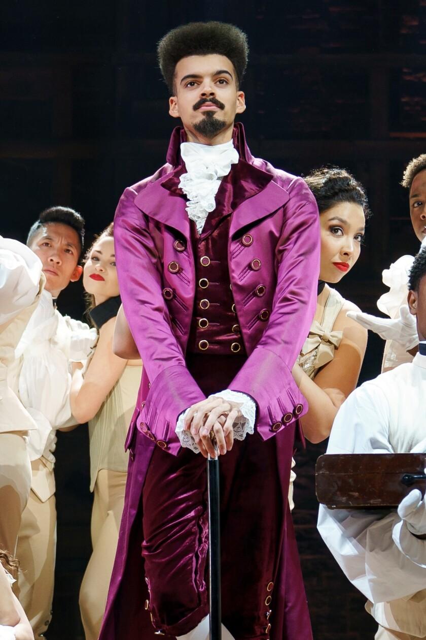 "Simon Longnight portrays Thomas Jefferson in ""Hamilton,"" scheduled to play at the Pantages Theatre through Nov. 22."