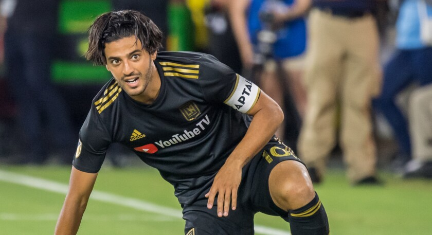 LAFC star Carlos Vela sustained a hamstring injury during Sunday's 3-3 tie with the Galaxy.