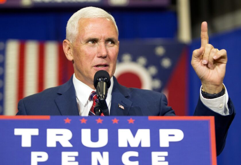 Indiana Gov. Mike Pence, the GOP vice presidential nominee, speaks during a campaign stop Friday in Rossford, Ohio