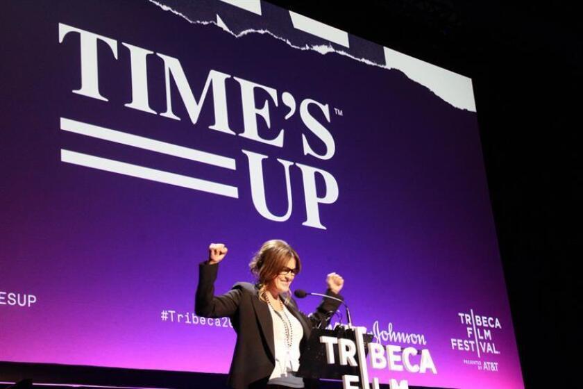 """La actriz Mariska Hargitay participa en la presentación del movimiento """"Time's Up"""" el sábado, 29 de abril de 2018, durante el Festival de Cine de Tribeca, en Nueva York (NY, EE.UU.). """"Time's Up"""", el movimiento contra el acoso sexual creado por 300 profesionales de Hollywood, plantó la semilla del activismo este fin de semana en el Festival de Cine de Tribeca (Nueva York), donde se presentó en público con el rostro de actrices como Julianne Moore, Ashley Judd o Mariska Hargitay. EFE/Archivo"""