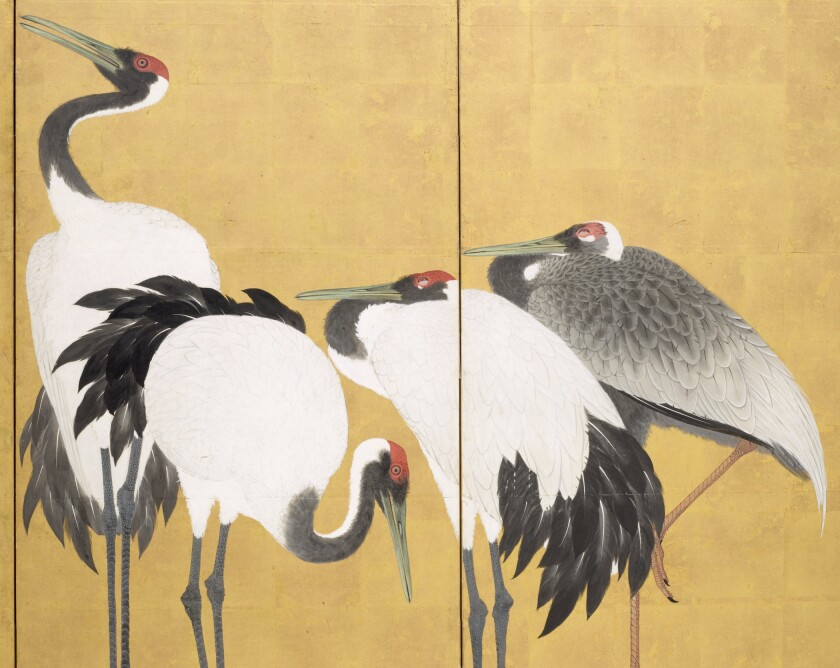 "Maruyama Okyo, ""Cranes (detail),"" 1772; pair of six-panel screens in ink, color, and gold leaf on paper."