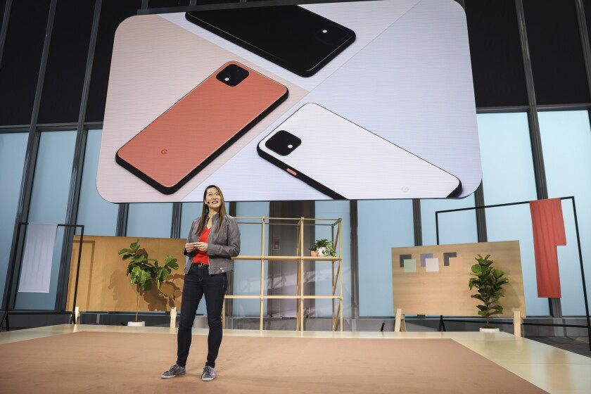 Sabrina Ellis, Google vice president of product management, introduces the new Google Pixel 4 smartphone during a launch event in New York City.