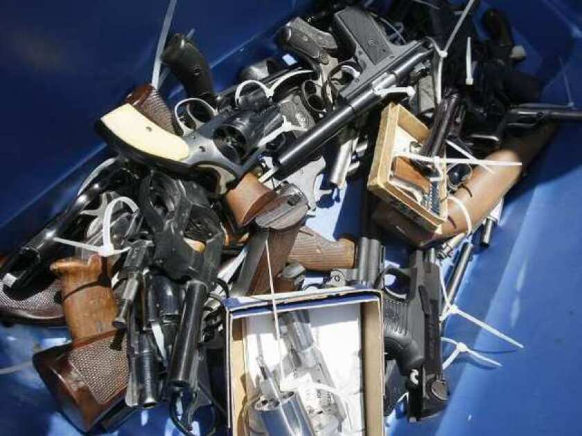 Guns collected during Pasadena-area buyback program.
