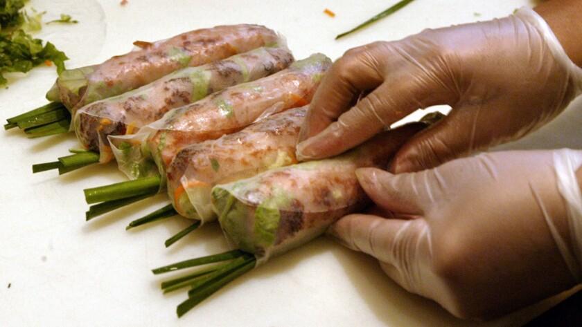 Nem nướng̣ (pork sausage rolls) from Brodard in Garden Grove.