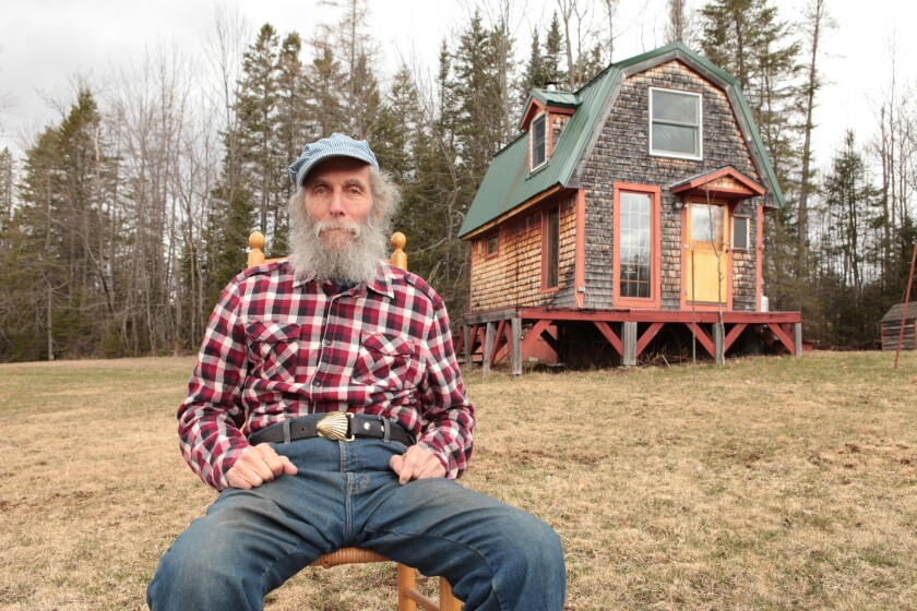 Burt Shavitz, the Burt in Burt's Bees in front of his old home in Maine. He and Roxanne Quimby began the firm in 1989. The firm was later bought by Clorox for a reported $925 million.