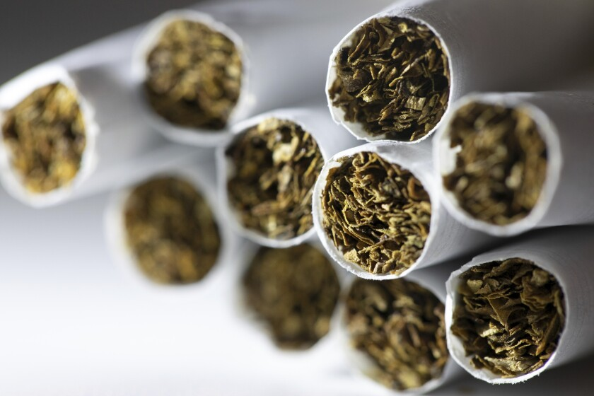 This Dec. 17, 2019 photo shows a group of cigarettes in New York.