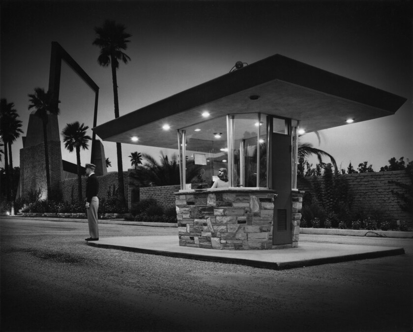 """A photograph by Julius Shulman titled """"Rubidoux Drive-In"""" on a gelatin silver print featured in the"""