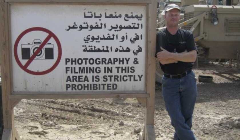 Mark Frerichs, a contractor from Illinois, poses in Iraq in this undated photo obtained from Twitter. Frerichs was abducted in Afghanistan in January.