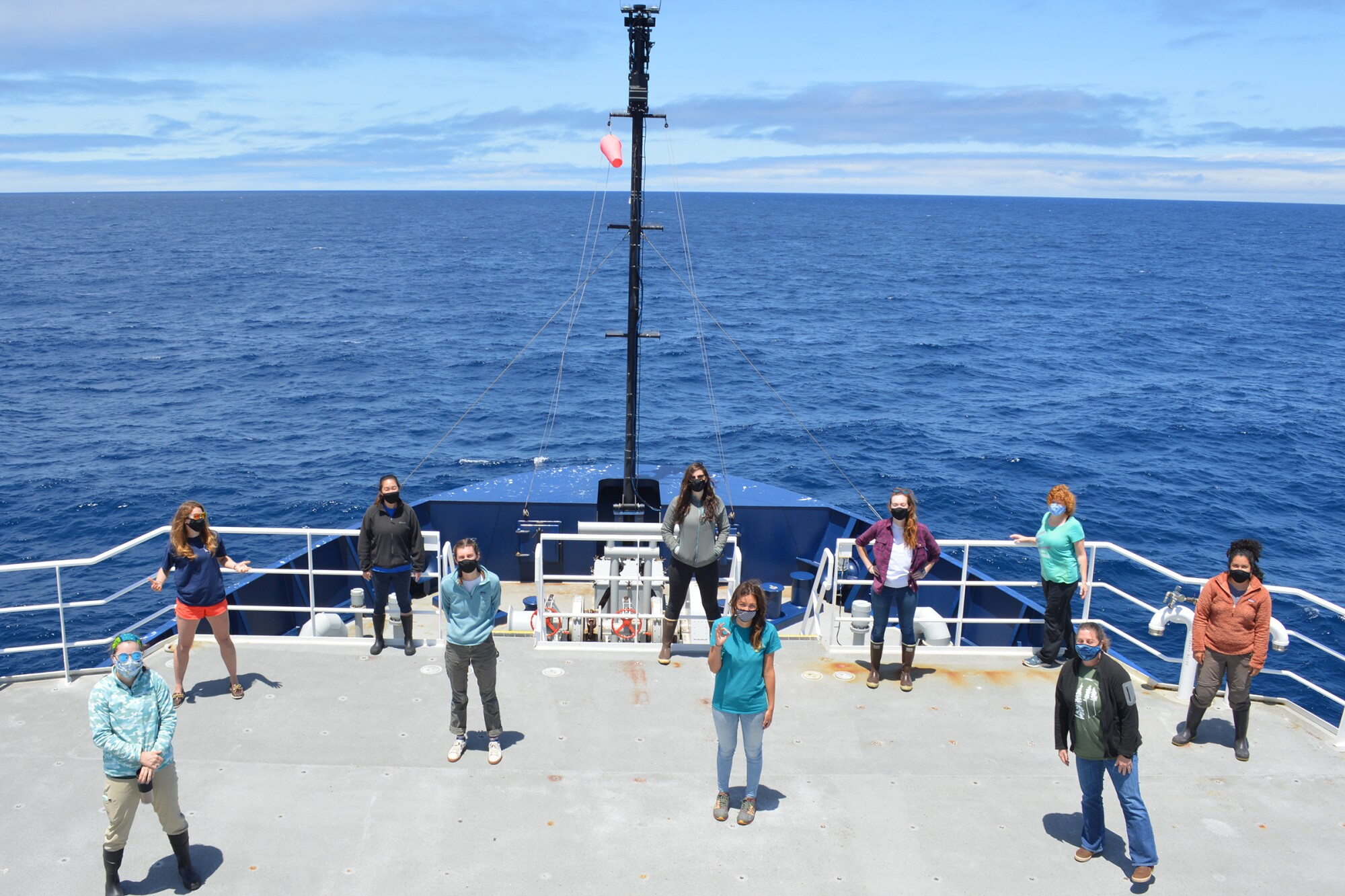 Members of the all-female CalCOFI research team aboard their naval research vessel.