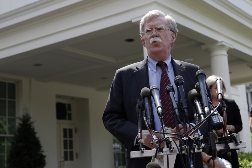 National security adviser John Bolton speaks about Venezuela outside the West Wing of the White Houseon April 30, 2019.