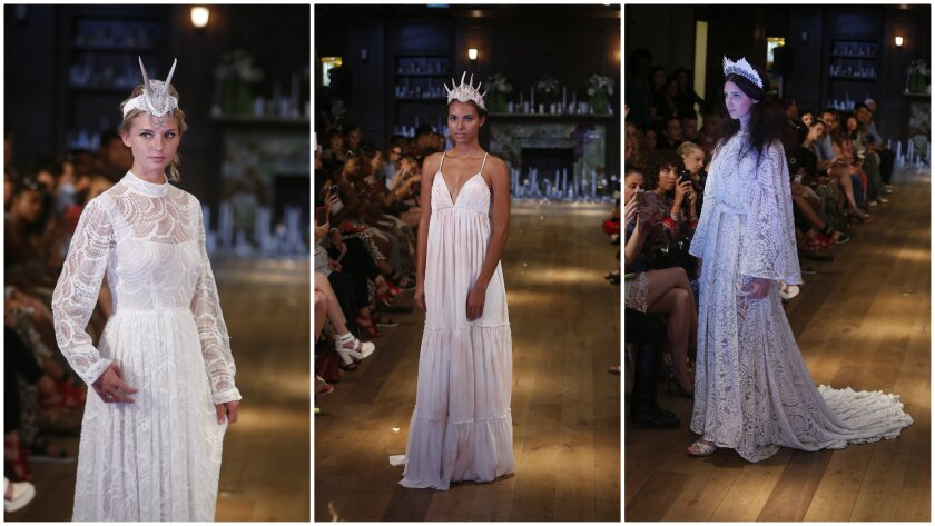 Looks from Odylyne's new bridal collection, shown at the Reef in downtown L.A. during Los Angeles Fashion Week.