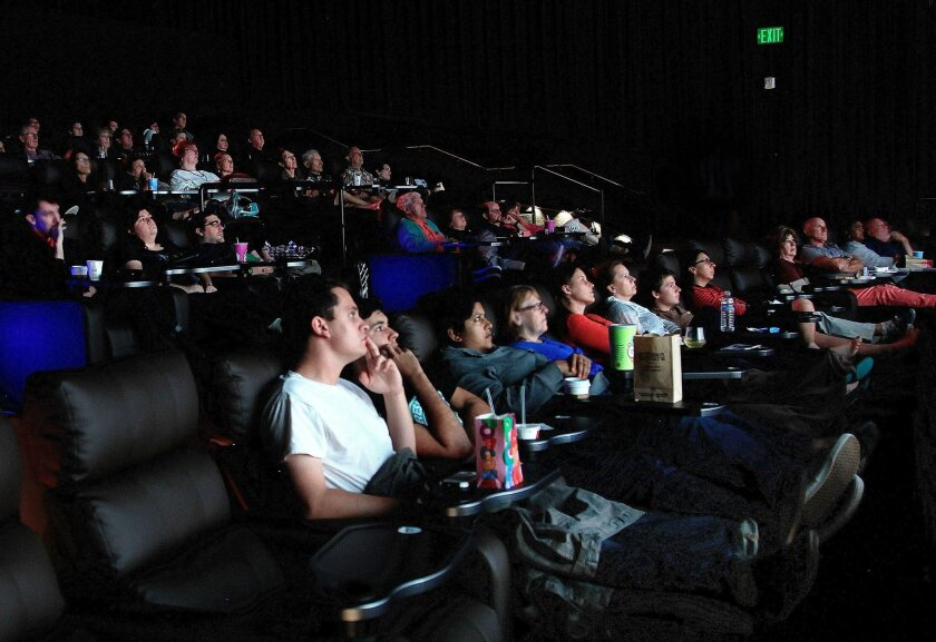 Moviegoers enjoy a film at the new Angelika Film Center in Carmel Mountain Ranch.