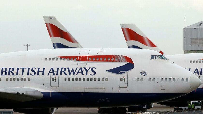 British Airways jets at Heathrow Airport.