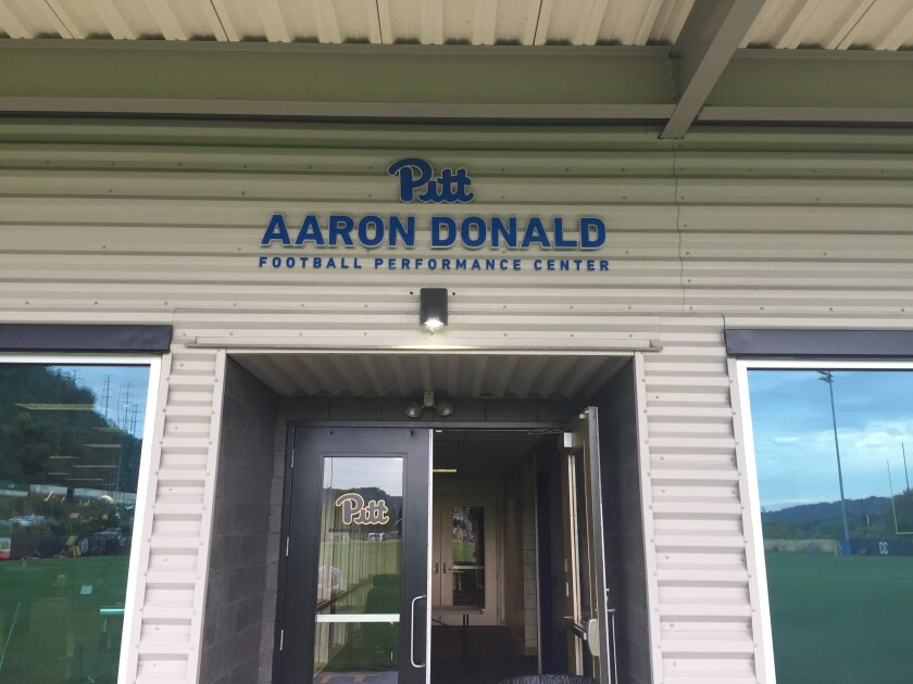 The entrance to the Pitt Aaron Donald Performance Center in November 2019.