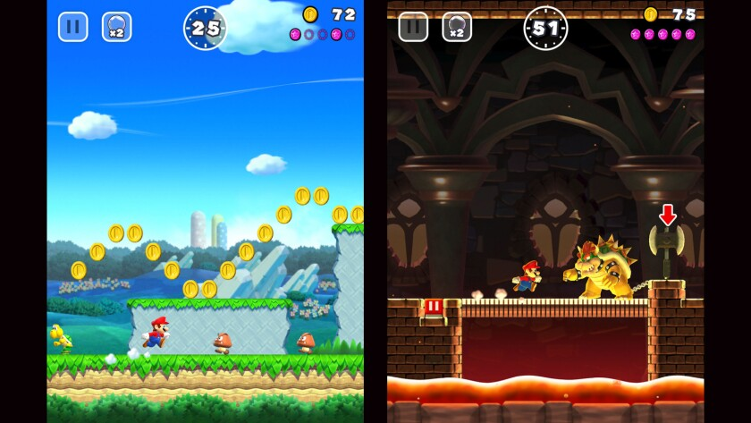 """Scenes from """"Super Mario Run,"""" the first Mario-themed mobile game from Nintendo."""