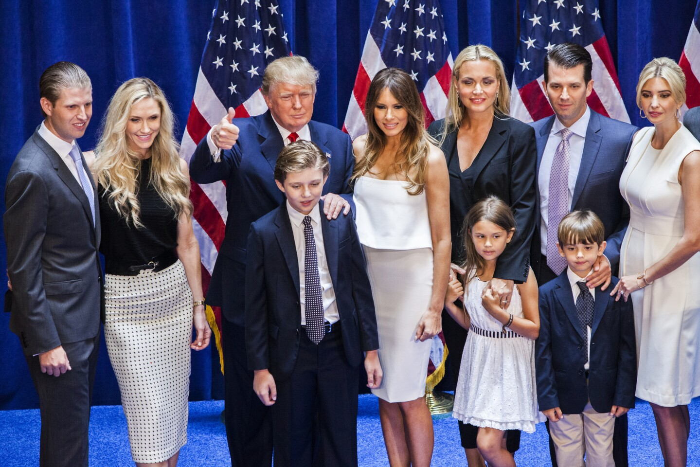 Eric Trump, left, Lara Yunaska Trump, Donald Trump, Barron Trump, Melania Trump, Vanessa Haydon Trump, Kai Madison Trump, Donald Trump Jr., Donald John Trump III and Ivanka Trump.