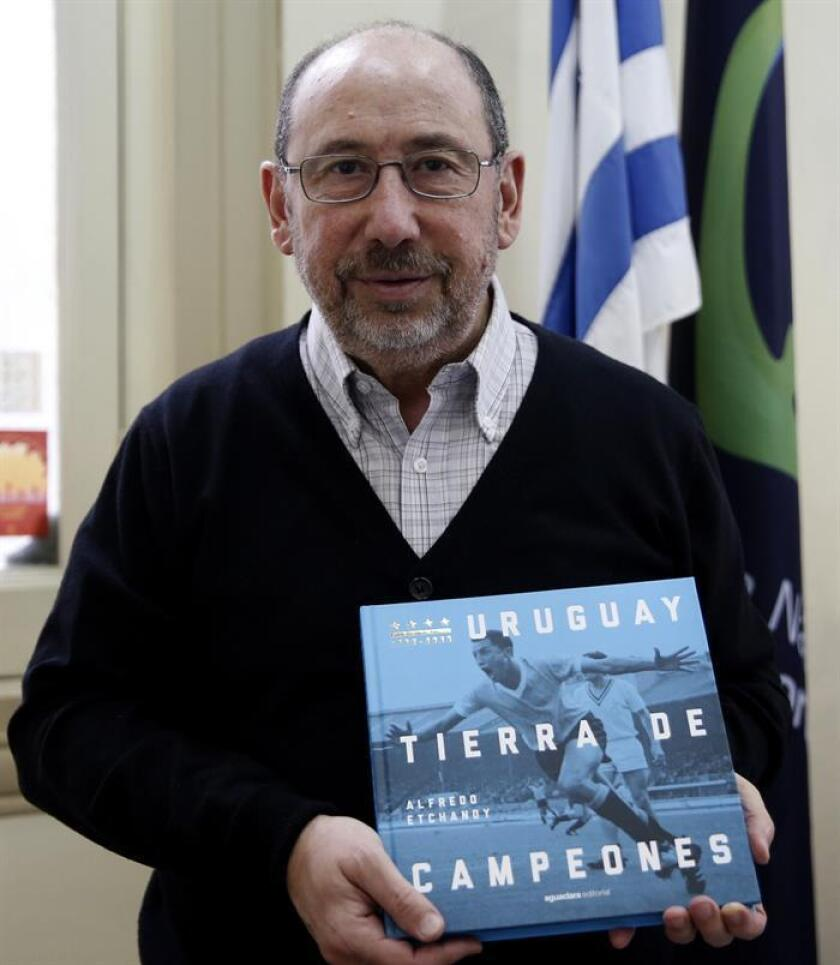 "Photograph originally taken on Dec. 11, 2018: National Sports Undersecretary Alfredo Etchandy - a distinguished journalist, lawyer and writer - tells the rich history of soccer in this South American nation in a new book, ""Uruguay tierra de campeones."" (Uruguay, Land of Champions). Dec. 17, 2018. Montevideo, Uruguay. EPA-EFE/Santiago Carbone"