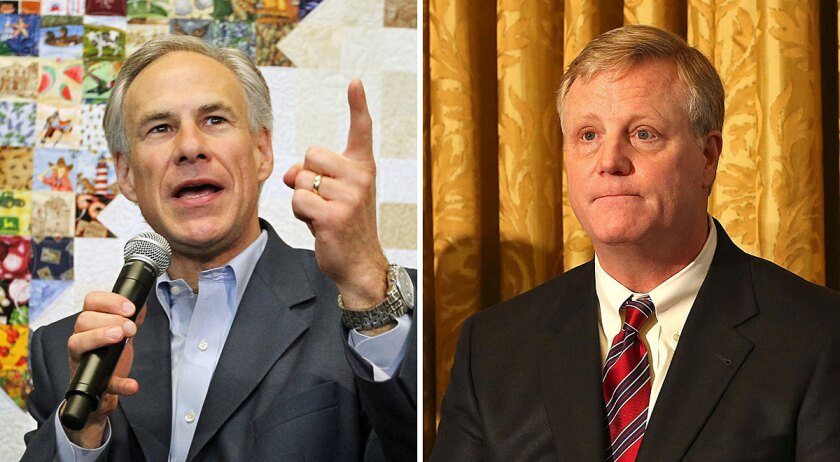 Texas Atty. Gen. Greg Abbott, left, and Mark Phariss are longtime friends -- and on opposite ends of the debate over same-sex marriage in the Lone Star State.