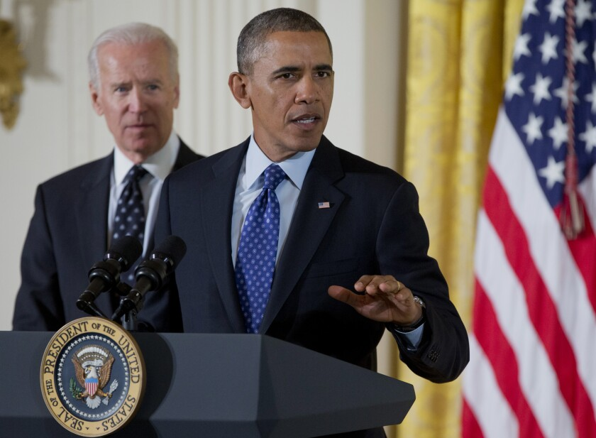 President Obama, accompanied by Vice President Joe Biden, speaks in the White House before signing a memorandum creating a task force on campus rapes.