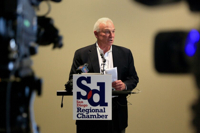 SAN DIEGO, CA-JUNE 9, 2016: |  San Diego Regional Chamber of Commerce president and chief executive officer Jerry Sanders speaks to members of the press during a press conference about the rebuilding of the Desert Line Railway which is said to improve movement of goods from maquiladoras from Mexico