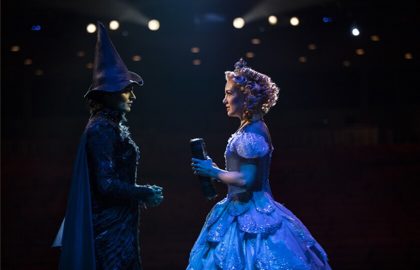 "Jackie Burns, left, and Kara Lindsay costar in the national tour of the hit musical ""Wicked,"" coming to the Hollywood Pantages Theatre."