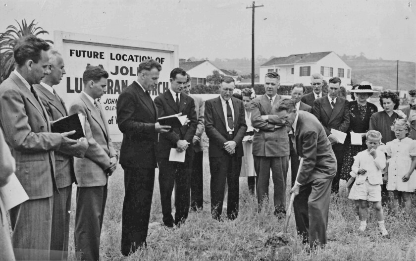 Then-pastor Leonard Johnson reads a blessing during the groundbreaking for La Jolla Lutheran Church's current location in 1947.