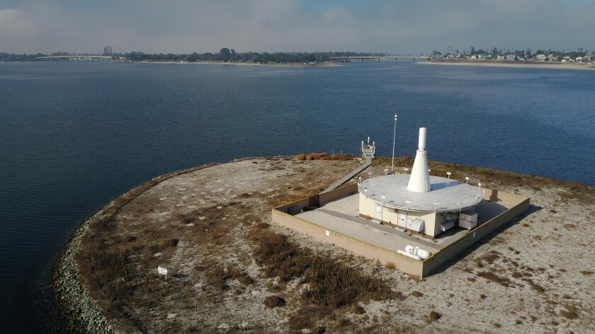 """The sandy island on Mission Bay that holds a Federal Aviation Administration navigational aid called """"VORTAC"""".Photographed on Tuesday, October 8, 2019."""