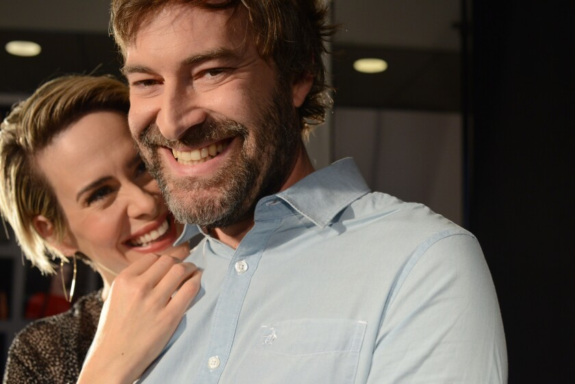 "Sarah Paulson and Mark Duplass star in ""Blue Jay."""