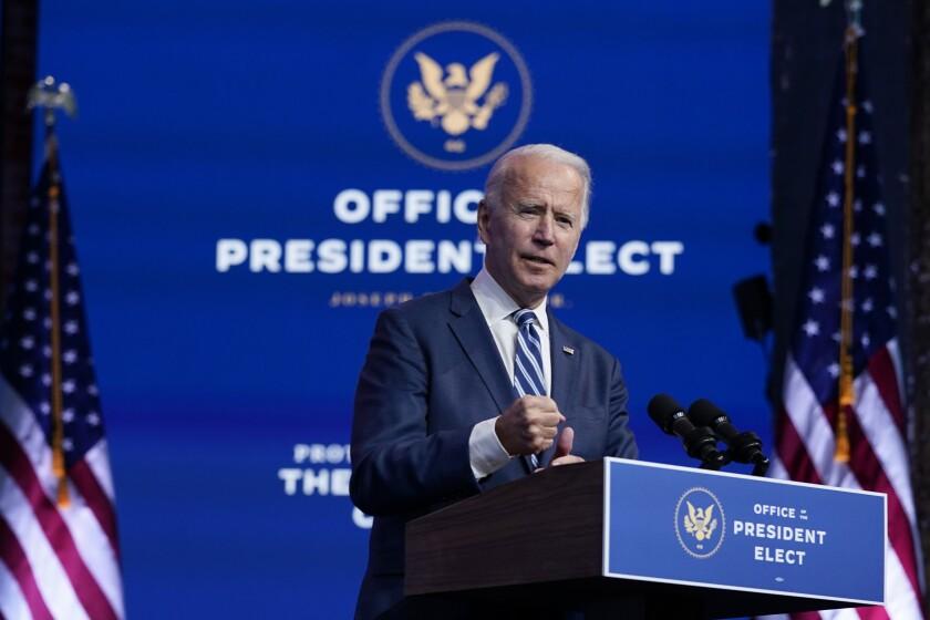President-elect Joe Biden speaks in Wilmington, Del., on Nov. 10, 2020.
