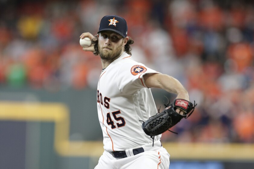 The Astros' Gerrit Cole delivers a pitch against the Rays in Game 5 of the ALDS on Oct. 10, 2019.