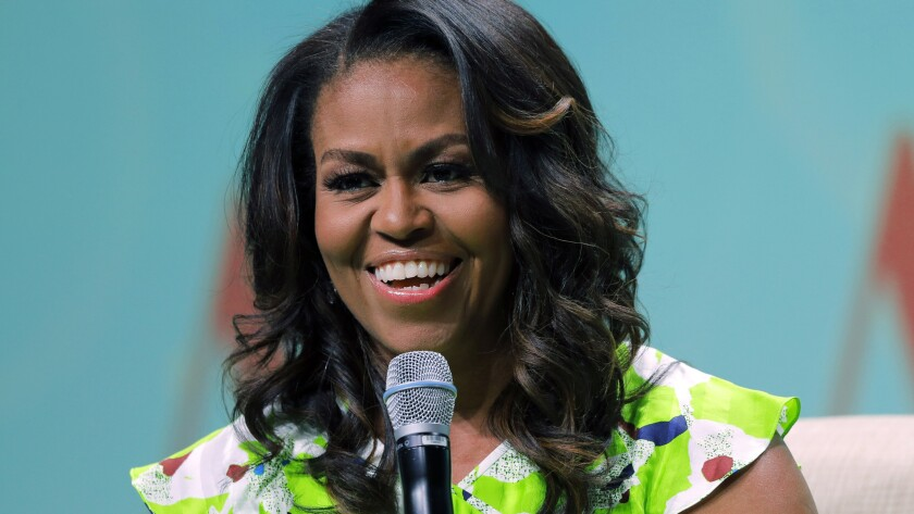 "Michelle Obama spoke at a library conference in June; her memoir ""Becoming"" publishes in November."