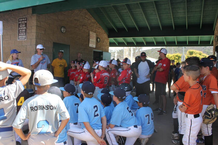 Speakers welcoming players to a previous Grand Slam 4 Mitchell Baseball Tournament.