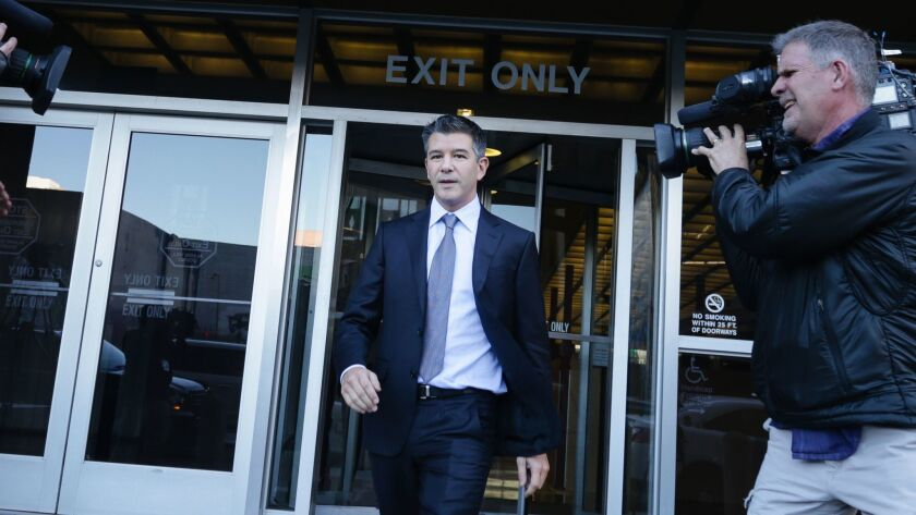 Former Uber CEO Travis Kalanick leaves the Philip Burton Federal Building in San Francisco after testifying on Feb. 6, the second day of the trial between Waymo and Uber Technologies.