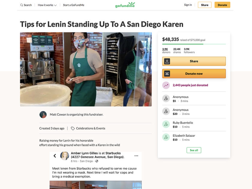A screenshot of a viral GoFundMe campaign with a picture of Starbucks barista Lenin Gutierrez.