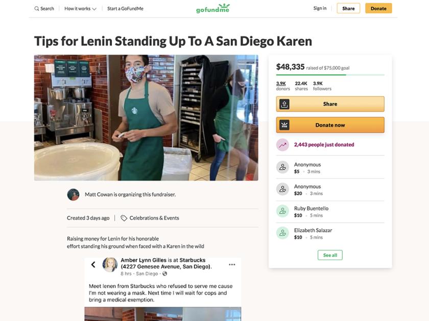 A screenshot of a viral GoFundMe with a picture of Starbucks barista Lenin Gutierrez.
