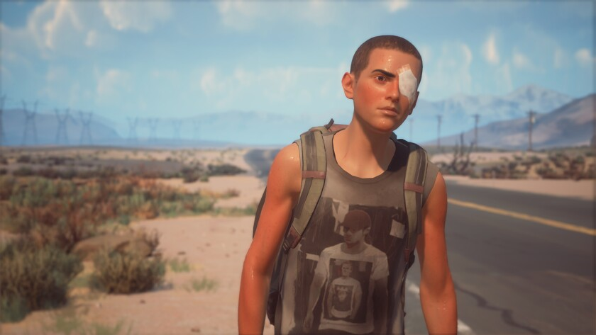 """A screenshot from """"Life Is Strange 2"""" shows an animated young Latino man in a desert with a bandage over his eye."""