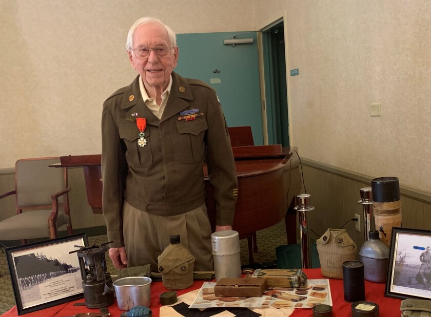 World War II veteran Ken Mallory gives a WWII presentation at his Bradbury retirement home.