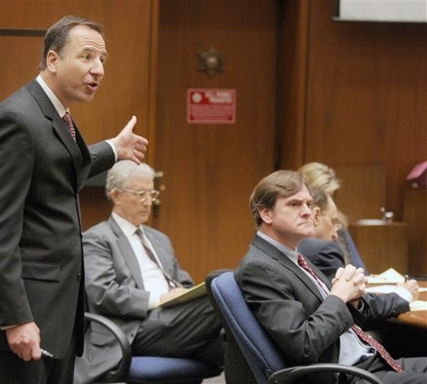 Prosecutor Habib Balian makes his final arguments in the murder trial of Christian Karl Gerhartsreiter, at Clara Shortridge Foltz Criminal Justice Center in Los Angeles Tuesday, April 9, 2013. Gerhartsreiter  has pleaded not guilty to the killing of John Sohus, 27, who disappeared with his wife, Li